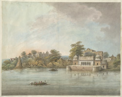 'A substantial masonry ghat on the river with a palace, probably at Lacchagir below Allahabad